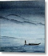 The Lonely Boat Man Metal Print