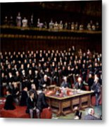 The Lord Chancellor About To Put The Question In The Debate About Home Rule In The House Of Lords Metal Print by English School