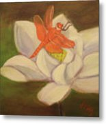 The Lotus And The Dragonfly Metal Print