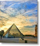 The Louvre At Sunset Metal Print