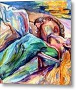 The Lovers Watercolor Metal Print