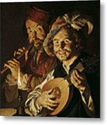 The Lutenist And The Flautist Metal Print
