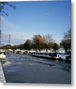 The Macclesfield Canal At Poynton In Winter And Frozen  Cheshire England Metal Print