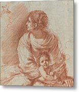 The Madonna And Child With An Escaped Goldfinch Metal Print