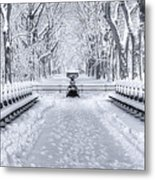 The Mall In Snow Central Park Metal Print