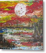 The Man And The Moon Metal Print