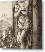 The Man Of Sorrows By The Column With The Virgin And St. John  Metal Print