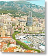 The Marina In Monaco Metal Print