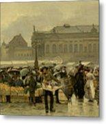 The Market In Antwerp Metal Print