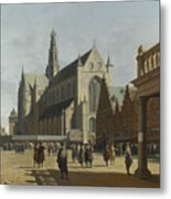 The Market Place And The Grote Kerk At Haarlem Metal Print