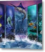 The Marlin And His Sea Friends  Metal Print
