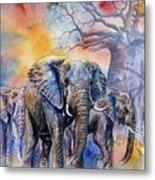 The Masai Mara Elephants Metal Print