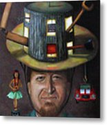 The Mechanic Part Of The Thinking Cap Series Metal Print by Leah Saulnier The Painting Maniac