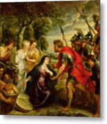The Meeting Of David And Abigail Metal Print