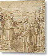 The Meeting Of San Carlo Borromeo And San Filippo Neri Metal Print