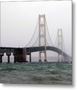 The Mighty Mackinaw Bridge Stands Strong Metal Print