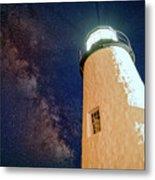 The Milky Way Over Pemaquid Point Metal Print