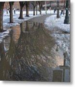 The Mirrored Streets Of Philadelphia In Winter Metal Print