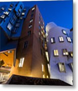The Mit Stata Center At Night Kendall Square Cambirdge Ma Moon Front Metal Print