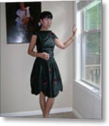 The Model And The Painting Metal Print