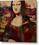 The Mona Lisa Colorful Watercolor Portrait On Worn Canvas Metal Print
