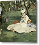 The Monet Family In Their Garden At Argenteuil Metal Print