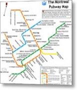 The Montreal Pubway Map Metal Print