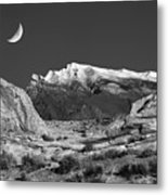 The Moon And The Mountain Range Metal Print