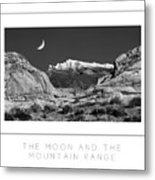 The Moon And The Mountain Range Poster Metal Print