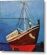 The Mykonos Boat Metal Print