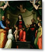 The Mystic Marriage Of St Catherine Of Siena With Saints Metal Print