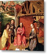 The Nativity By Gerard David  Metal Print