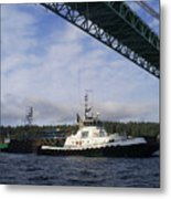 The New Tacoma Narrows Bridge - Foss Tug Metal Print