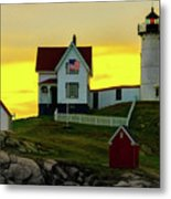 The Nubble Cape Neddick Lighthouse In Maine At Dawn Metal Print