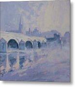 The Old Bridge In Morning Fog Maastricht Metal Print