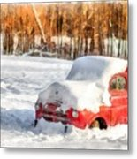 The Old Farm Truck In The Snow Metal Print