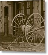 The Old Fire House Sepia Metal Print