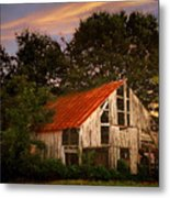 The Old Lowdermilk Barn - Red Roof Barn Rustic Country Rural Antique Metal Print by Jon Holiday