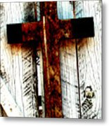 The Old Rusted Cross Metal Print