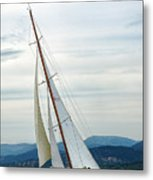The Old Sailing Yacht At Competitions In The Gulf Of Saint Trope Metal Print