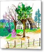 The Ole House In Spring Metal Print