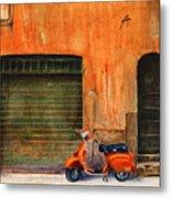 The Orange Vespa Metal Print