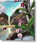 The Orchids And The Sailboat Metal Print