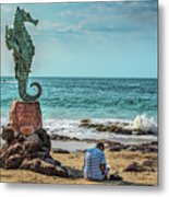 The Original Boy On The Seahorse Metal Print