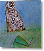 The Owl And The Butterfly Metal Print