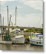 The Paddler Tybee Island Shrimp Boats Metal Print