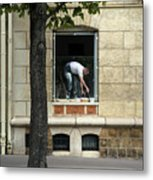 The Painter In The Window Metal Print
