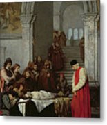 The Painter Luca Signorelli Standing By The Body Of His Rival's Dead Son Metal Print