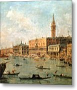 The Palace And The Molo From The Basin Of San Marco Metal Print
