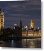 The Palace Of Westminster By Night Metal Print